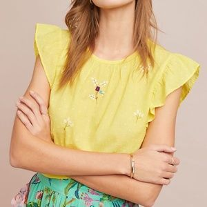 NWT  Anthropologie Sunflower Embroidered Top